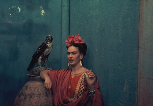 Frida Kahlo and Pet Hawk